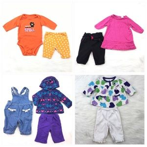 9 Items Baby Girl Size 3 Month Fall Winter Bundle